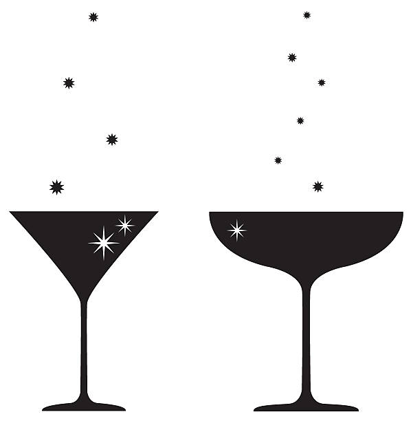 Silhouette of Cocktail & Champagne Glass Silhouette of cocktail & champagne glass. martini glass stock illustrations