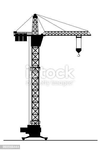 Silhouette of Construction crane isolated on white background,flat vector illustration