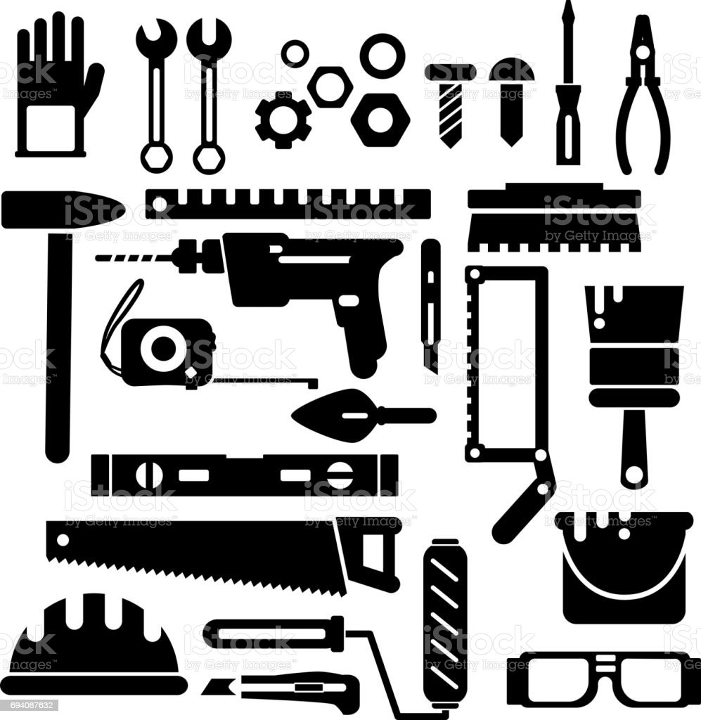 Silhouette Of Construction Or Repair Tools Vector Black Icon Set