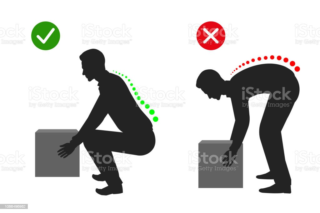 Silhouette Of Correct Posture To Lift A Heavy Object Man