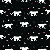 Silhouette of cougar seamless black pattern