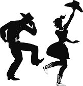 Silhouette of Country-Western dancers