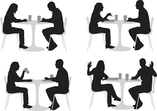 bildbanksillustrationer, clip art samt tecknat material och ikoner med silhouette of couple in a restaurant - sitta