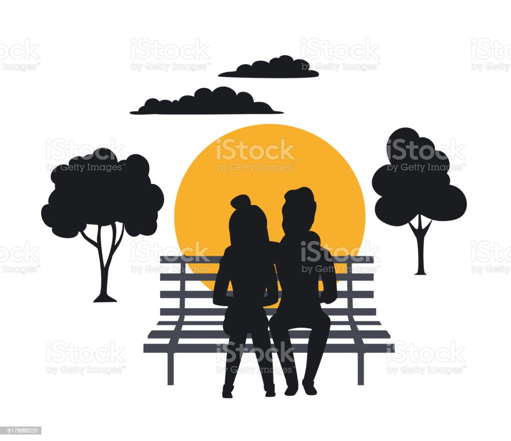 Silhouette Of Couple Sitting On The Bench In The Park Stock Vector ... for People On Bench Silhouette  56mzq
