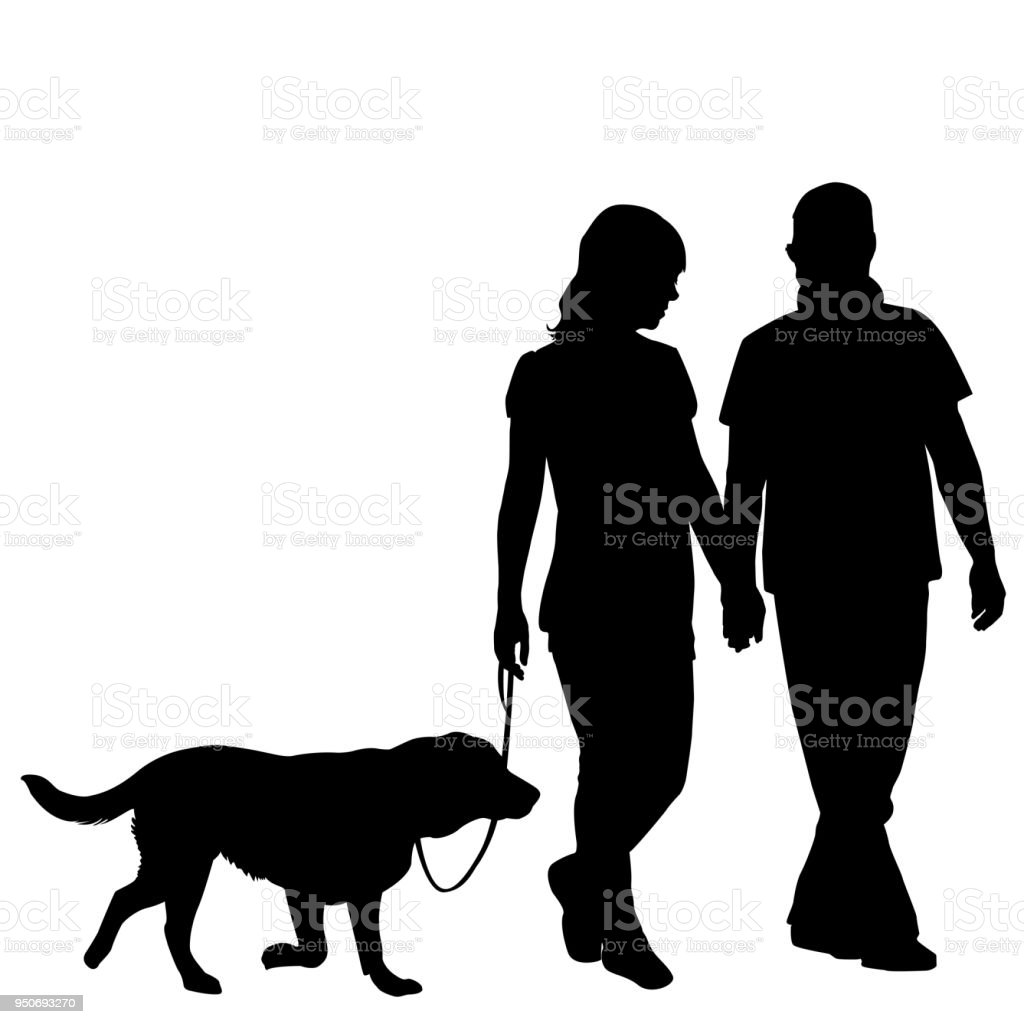 Silhouette of couple taking dog for walk vector art illustration