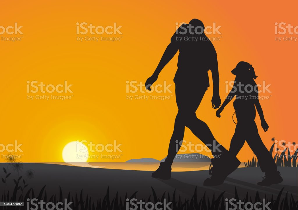 Silhouette of couple walking on the beach in the morning on golden sunrise background, health care exercise concept vector illustration vector art illustration