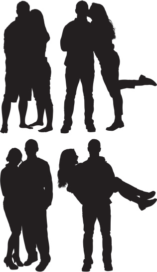 Silhouette of couples in love