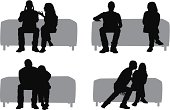 Silhouette of couples on a couch