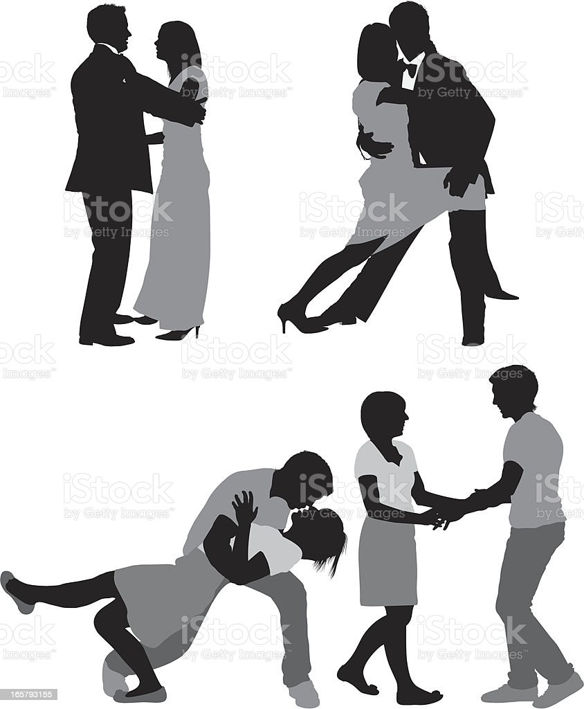 Silhouette of couples romancing vector art illustration