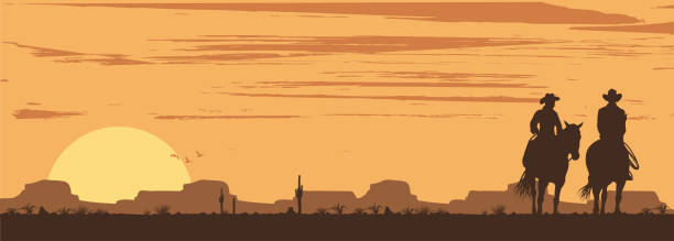 silhouette of cowboy couple riding horses at sunset, vector - desert stock illustrations