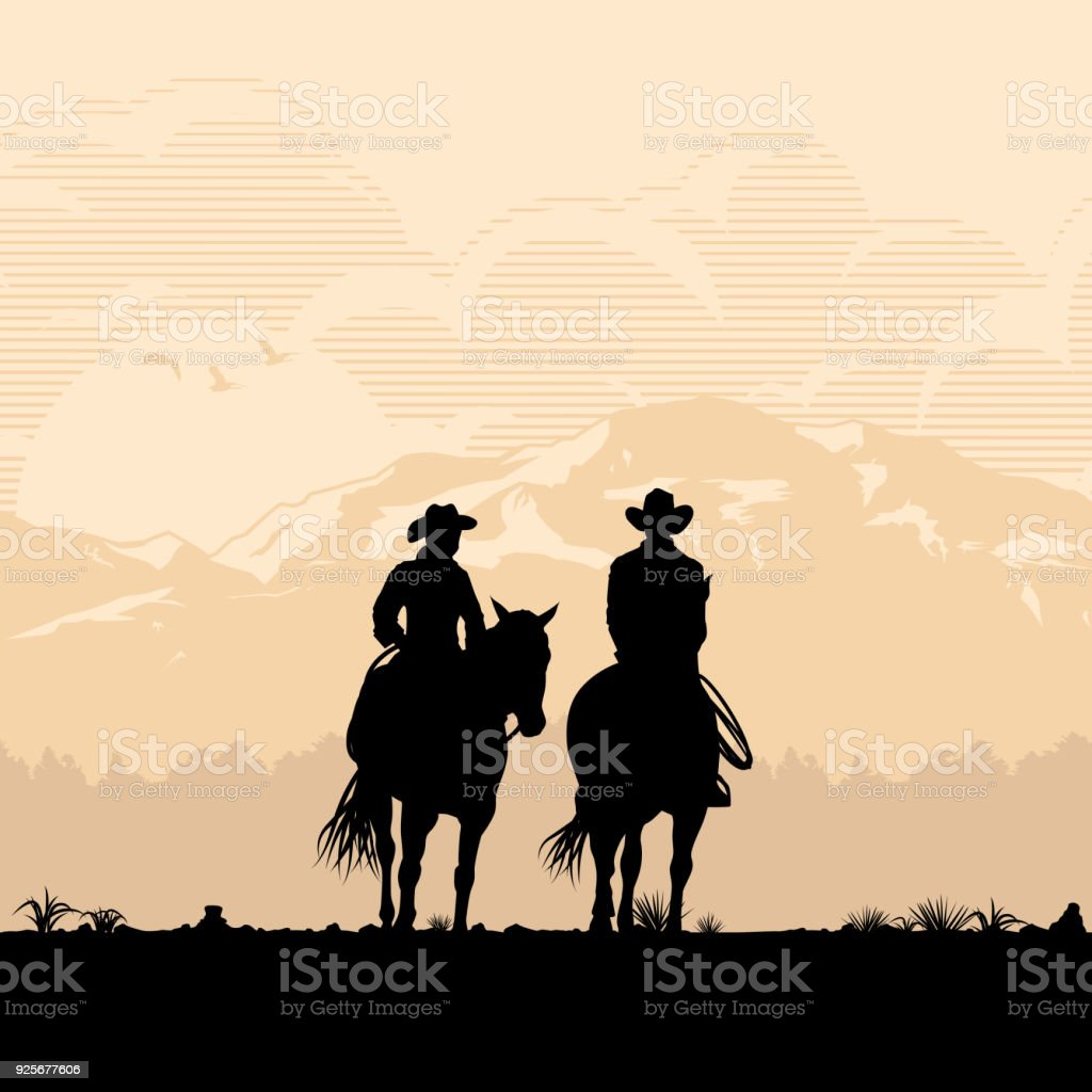 Silhouette of Cowboy couple riding horses at sunset, vector vector art illustration