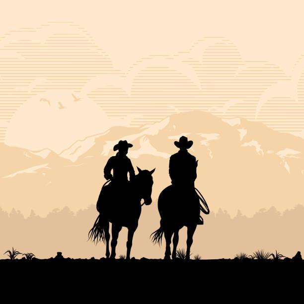 日没、ベクターで馬に乗るカウボーイ カップルのシルエット - 乗馬点のイラスト素材/クリップアート素材/マンガ素材/アイコン素材