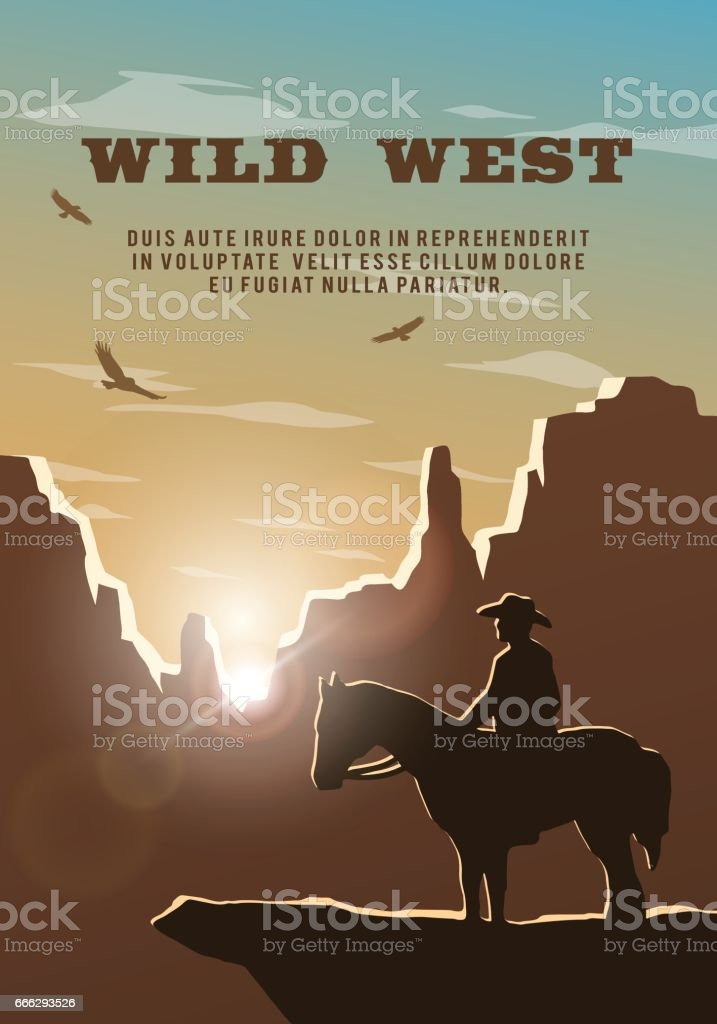 Silhouette of cowboy on the background of the wild west. Poster vector background.