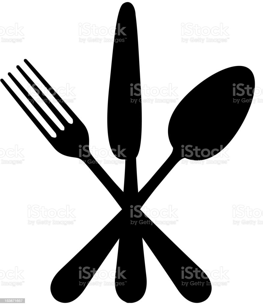 Silhouette Of Crossed Knife Fork And Spoon Stock Vector Art & More ...