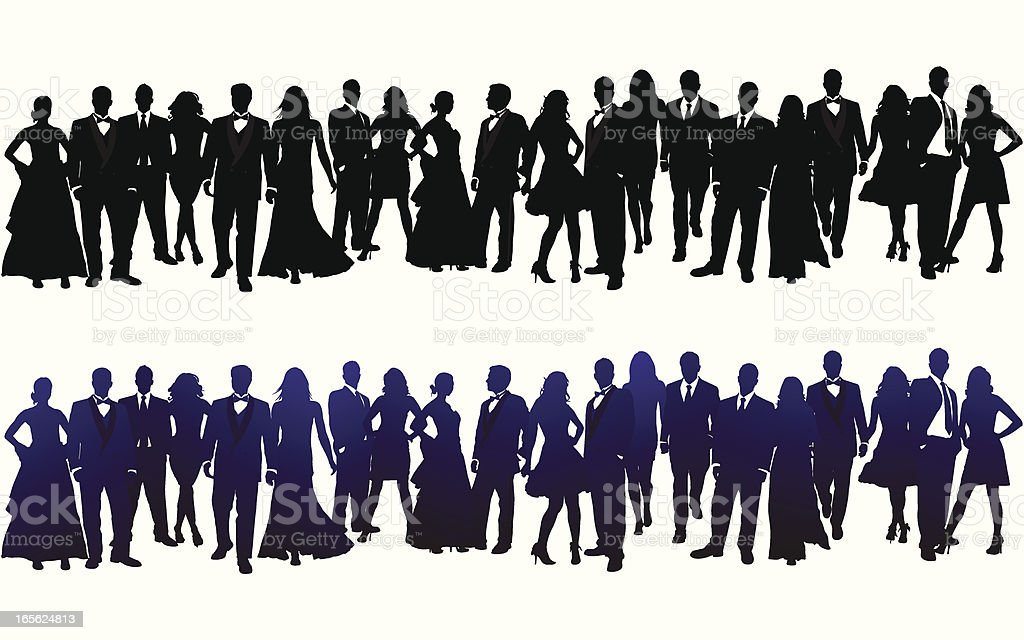 Silhouette of Crowd vector art illustration