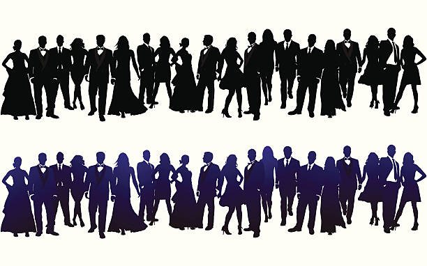 Silhouette of Crowd 20 INDIVIDUAL SILHOUETTES. ZOOM IN to check out the detail. This file contains 20 individual silhouettes, that can each be easily changed in vector format. The colors can be changed easily (only one gradient was used). This illustration is perfect for a variety of different design projects. This file has been layered and grouped for easy editing. This file includes a large JPG file, an ai V10 file, and an eps file. formalwear stock illustrations