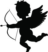 Silhouette of Cupid with a bow and arrow