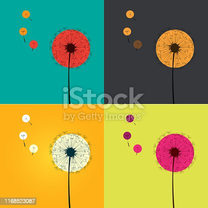 Vector Silhouette of dandelion in colorful background .