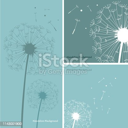 Vector of Silhouette of dandelion in green color background.