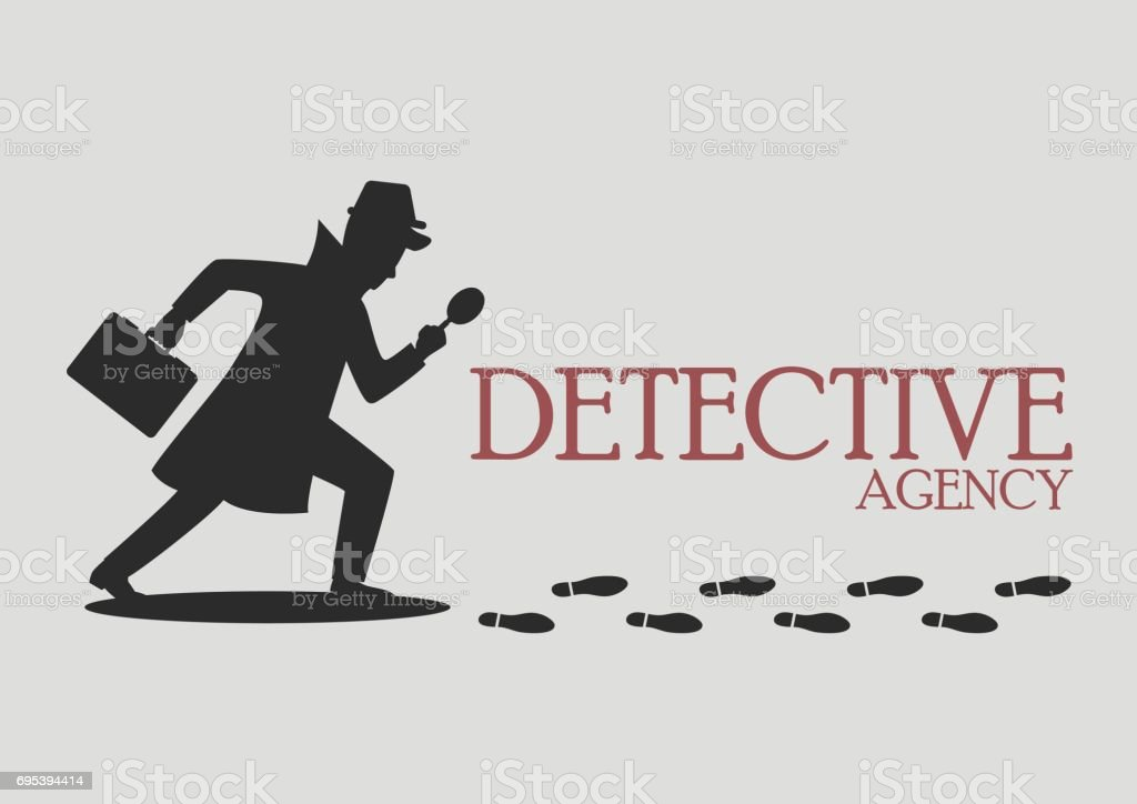 Silhouette of detective agency vector art illustration