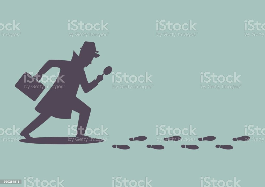 Silhouette of detective investigate is following footprints royalty-free silhouette of detective investigate is following footprints stock illustration - download image now