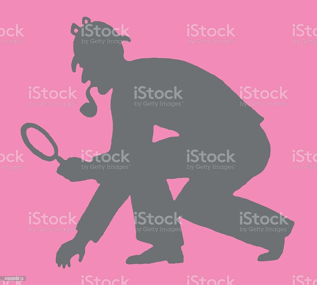Silhouette of Detective vector art illustration