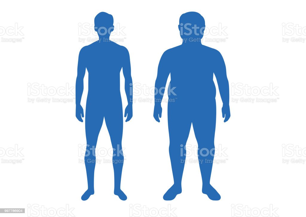 Silhouette of difference body between shapely man and fat. vector art illustration