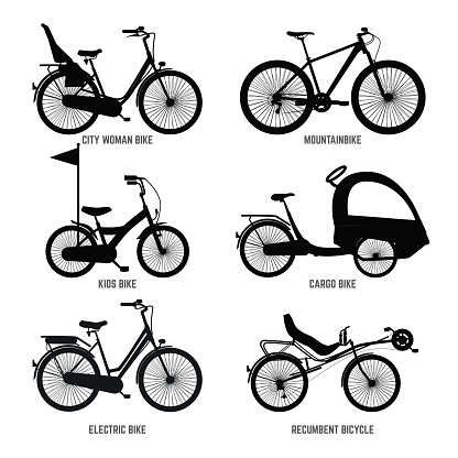Silhouette of different bicycles for children, man and woman. Vector monochrome illustrations