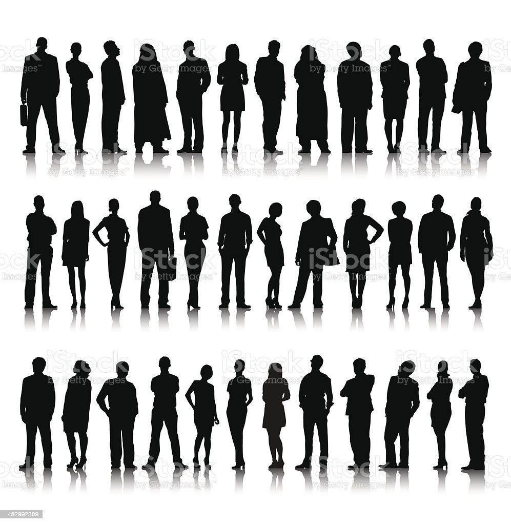 Silhouette Of Diverse Crowd Of Business People royalty-free silhouette of diverse crowd of business people stock vector art & more images of adult