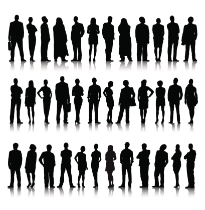 Silhouette Of Diverse Crowd Of Business People clipart