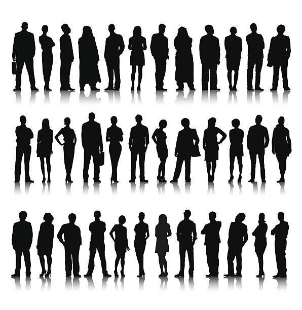 sylwetka różnych tłumy ludzi biznesu - neutralne tło stock illustrations