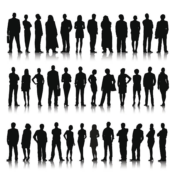silhouette of diverse crowd of business people - standing stock illustrations