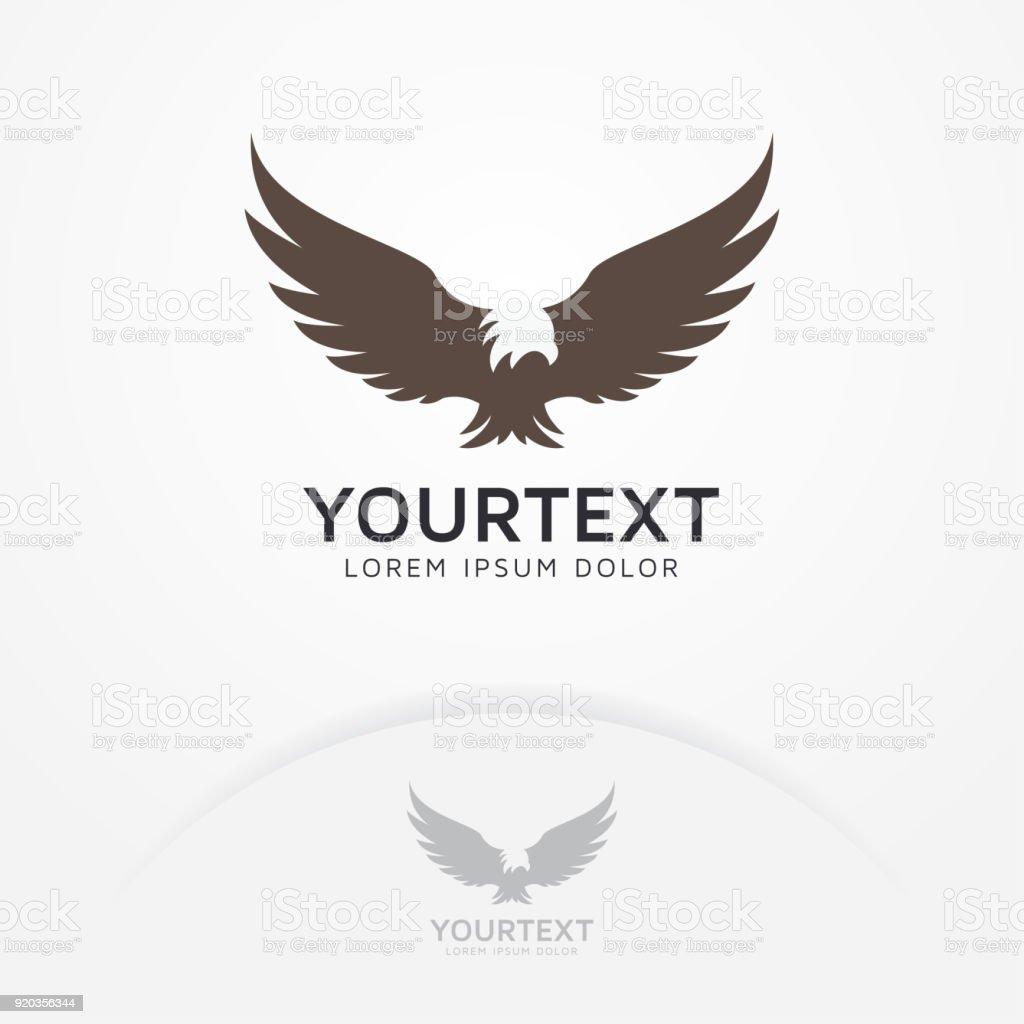 Silhouette Of Eagle Phoenix Hawk Symbol Stock Illustration
