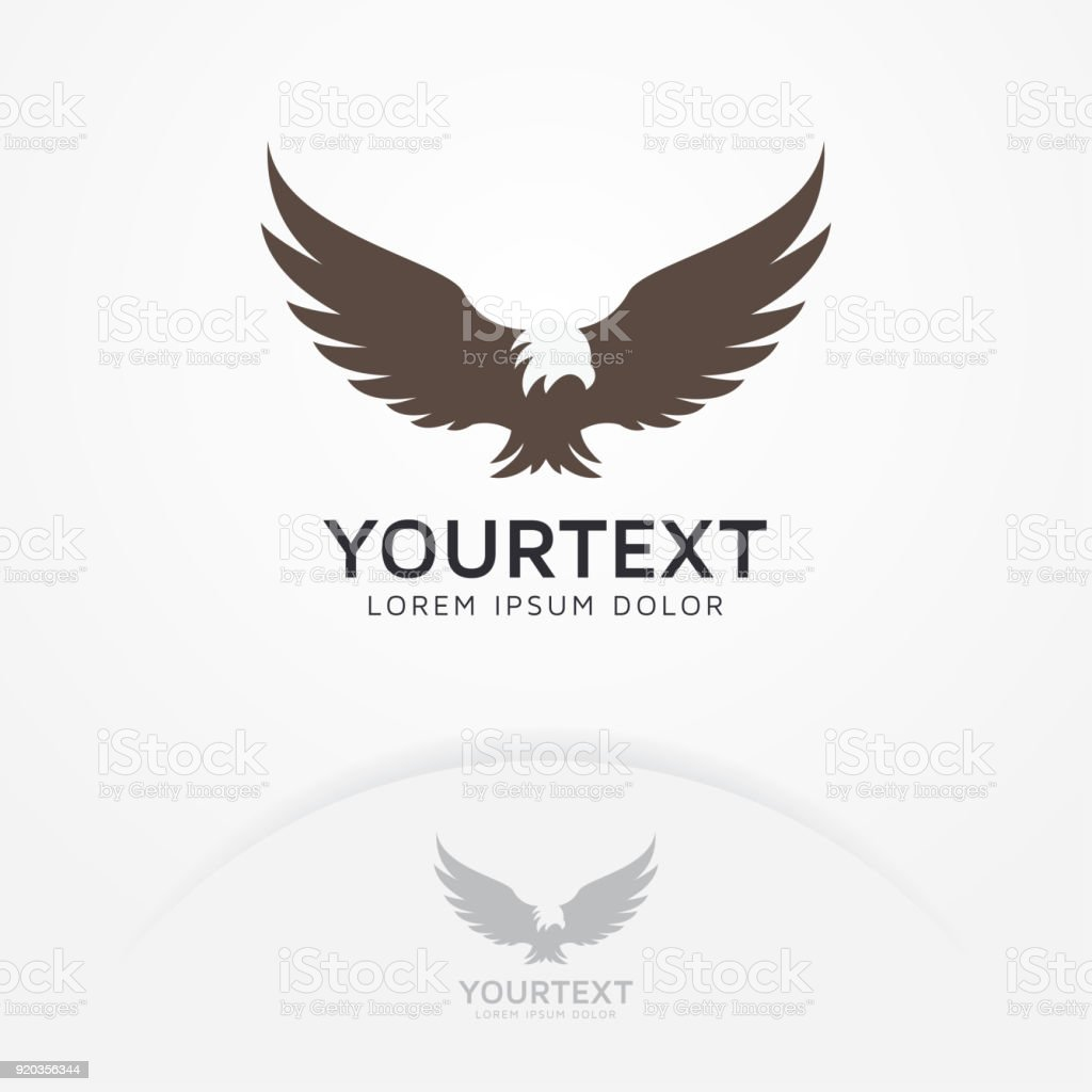 Silhouette of eagle, phoenix, hawk symbol vector art illustration