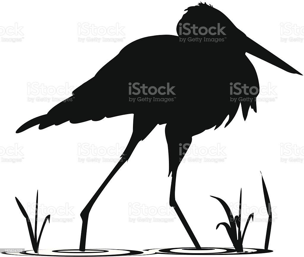 silhouette of egret walking in water stock vector art 163824703 istock