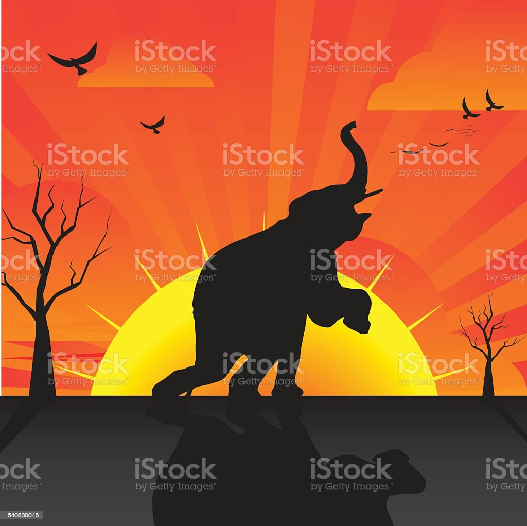 Silhouette of elephant vector art illustration