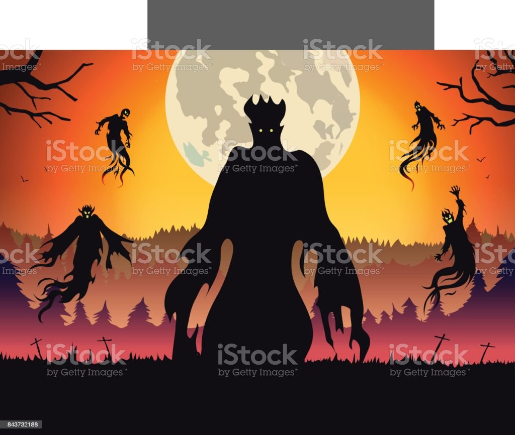 Silhouette of evil spirit flying on forest at full moon night. vector art illustration