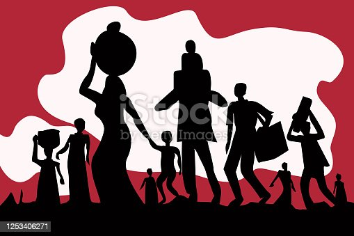 Silhouette of exodus of economically backward people carrying luggages and children.