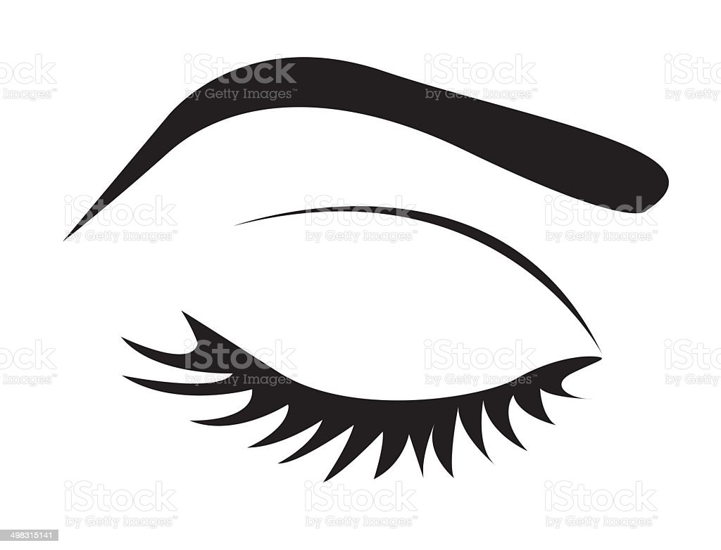 silhouette of eye lashes and eyebrow vector art illustration