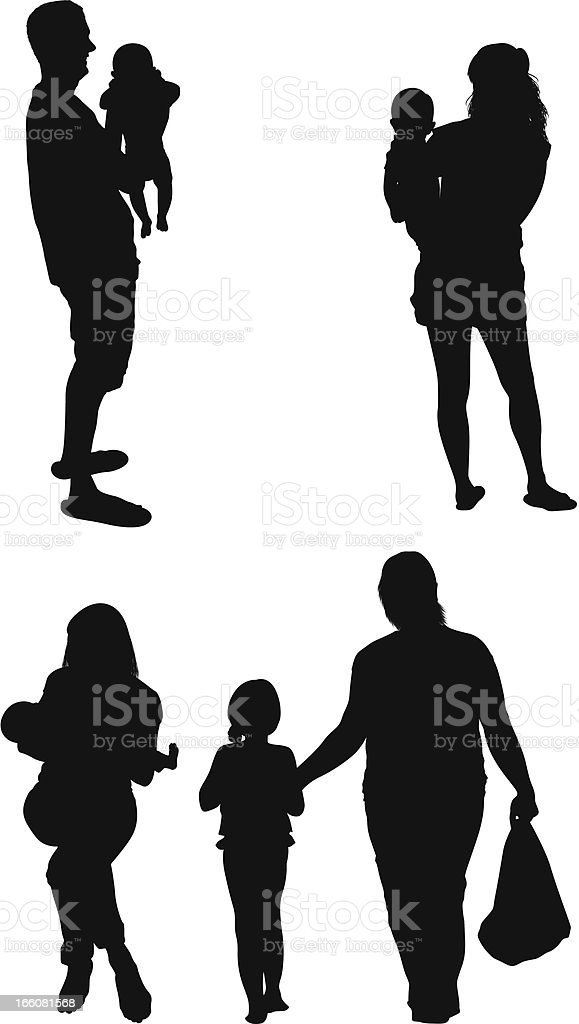 Silhouette of families vector art illustration