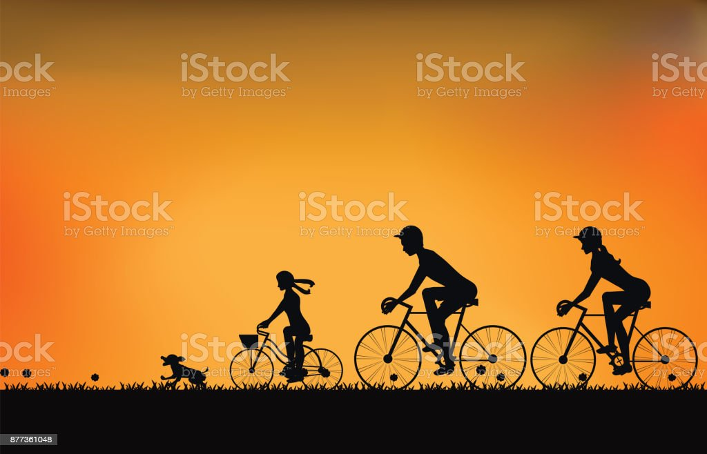 Silhouette of family driving bike with beautiful sky at sunset . vector art illustration