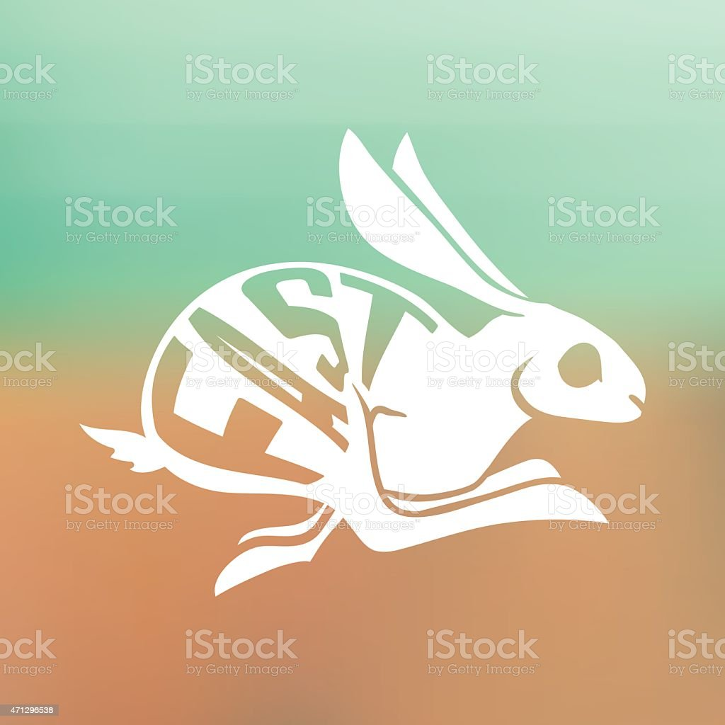 silhouette of Fast rabbit with text inside on blur background vector art illustration