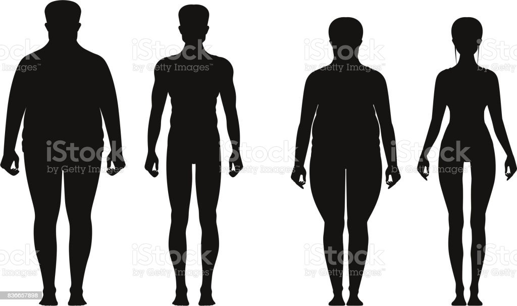 Silhouette of fat and thin peoples. Weight loss of overweight man and fat woman. Vector illustrations isolate vector art illustration