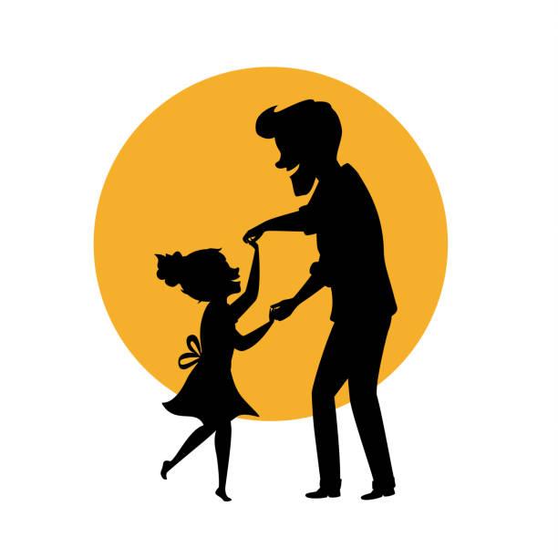 ilustraciones, imágenes clip art, dibujos animados e iconos de stock de silueta de padre e hija bailando juntos sosteniendo las manos escena de ilustración vector aislado - hija