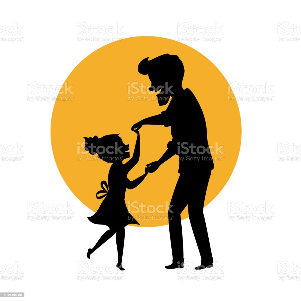 silhouette of father and daughter dancing together holding hands isolated vector illustration scene vector art illustration