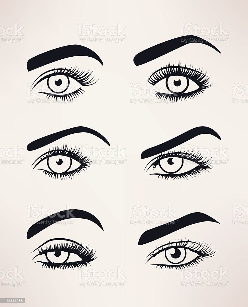 Silhouette of female eyes open, different shapes. vector art illustration