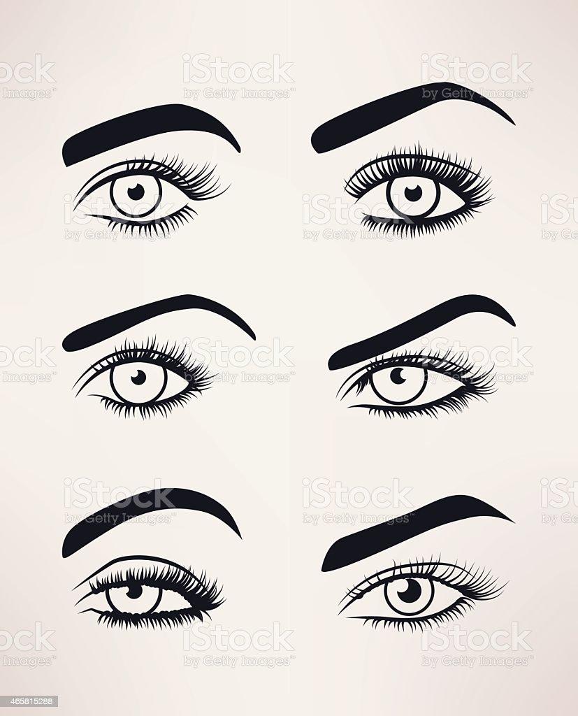 Silhouette der weiblichen Augen offen, verschiedenen Formen. – Vektorgrafik