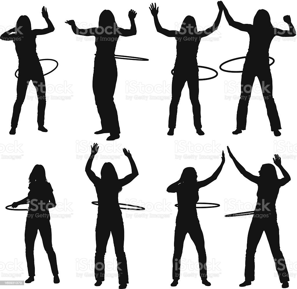 Silhouette of female friends with plastic hoops royalty-free silhouette of female friends with plastic hoops stock vector art & more images of acrobat