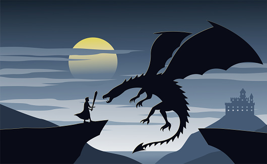 Silhouette of fiction with knight nad dragon
