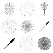 Set of isolated fireworks flashes and rockets on a white background